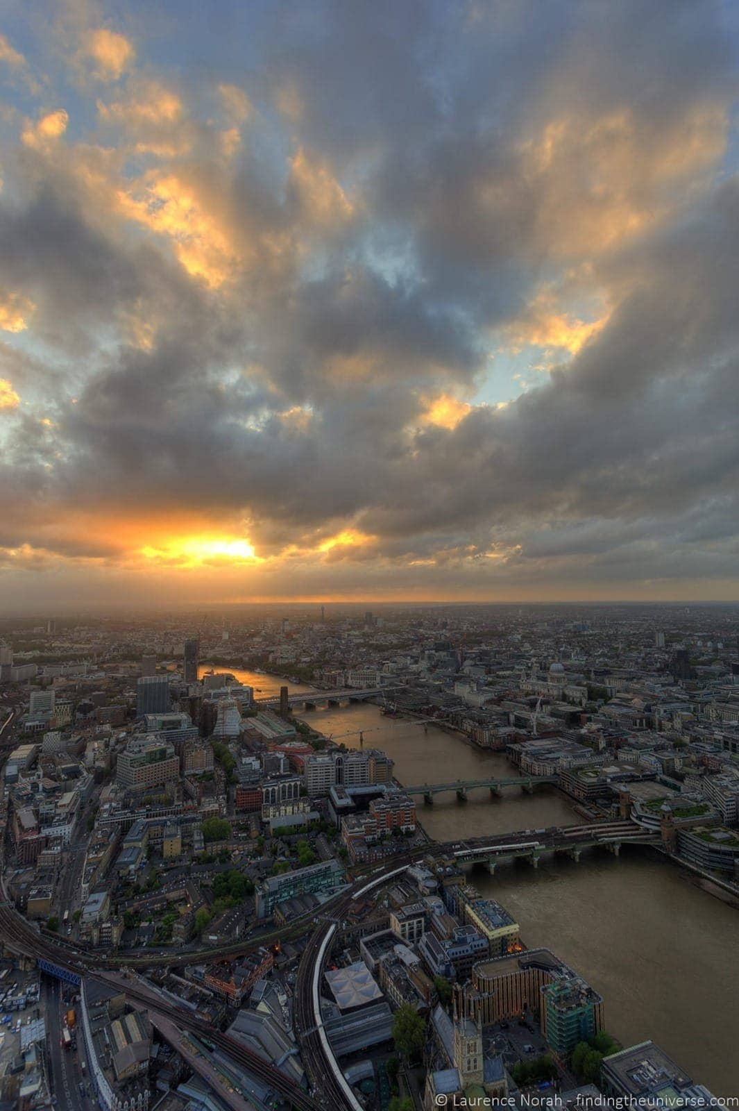 View from the shard london at sunset