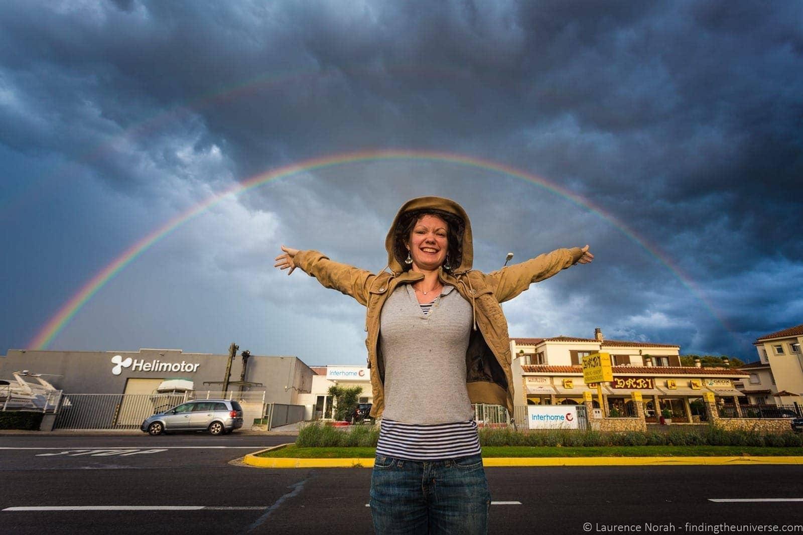Jess under double rainbow spain