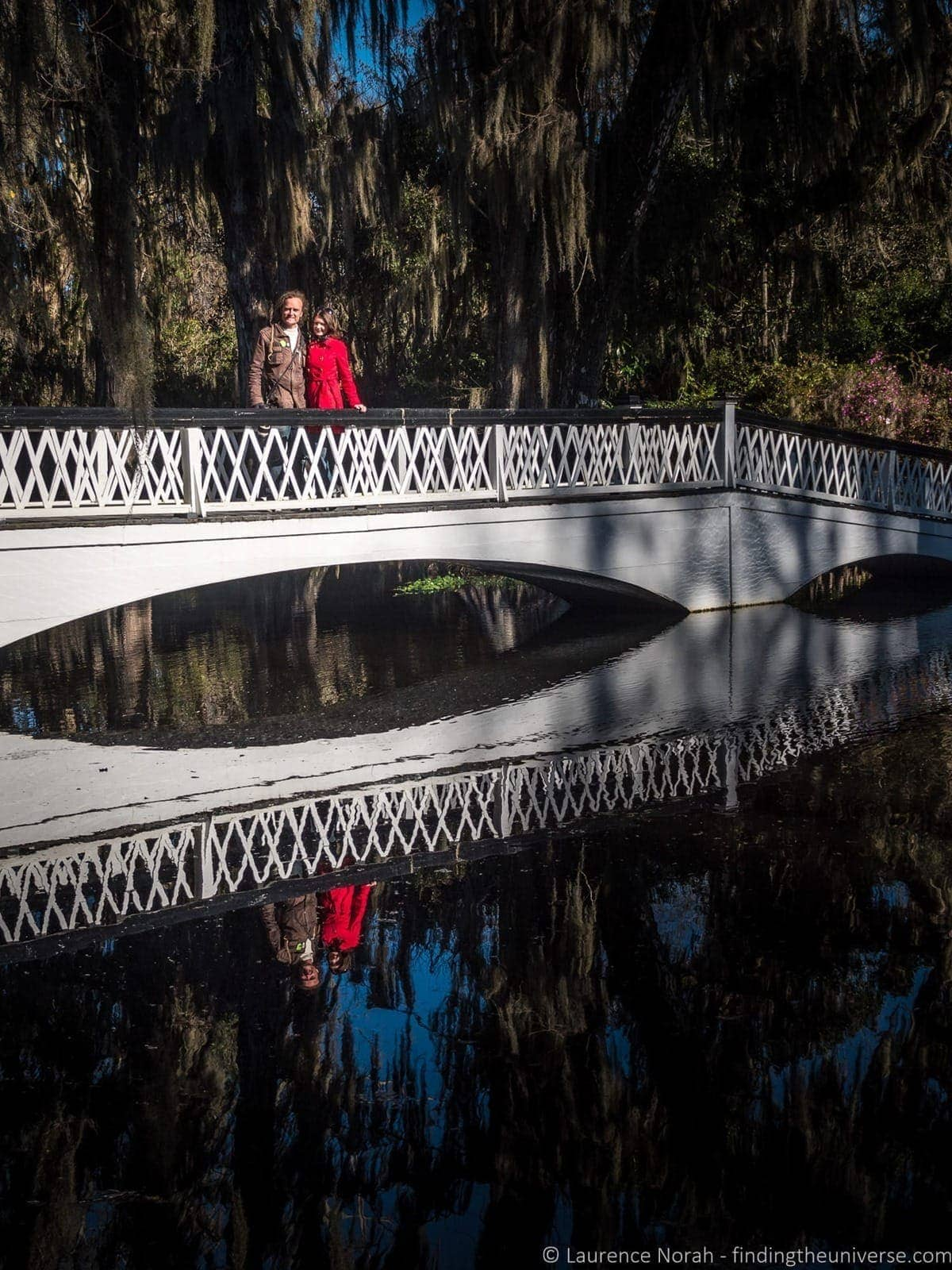 Laurence and Jess on bridge Magnolia Plantation Charleston