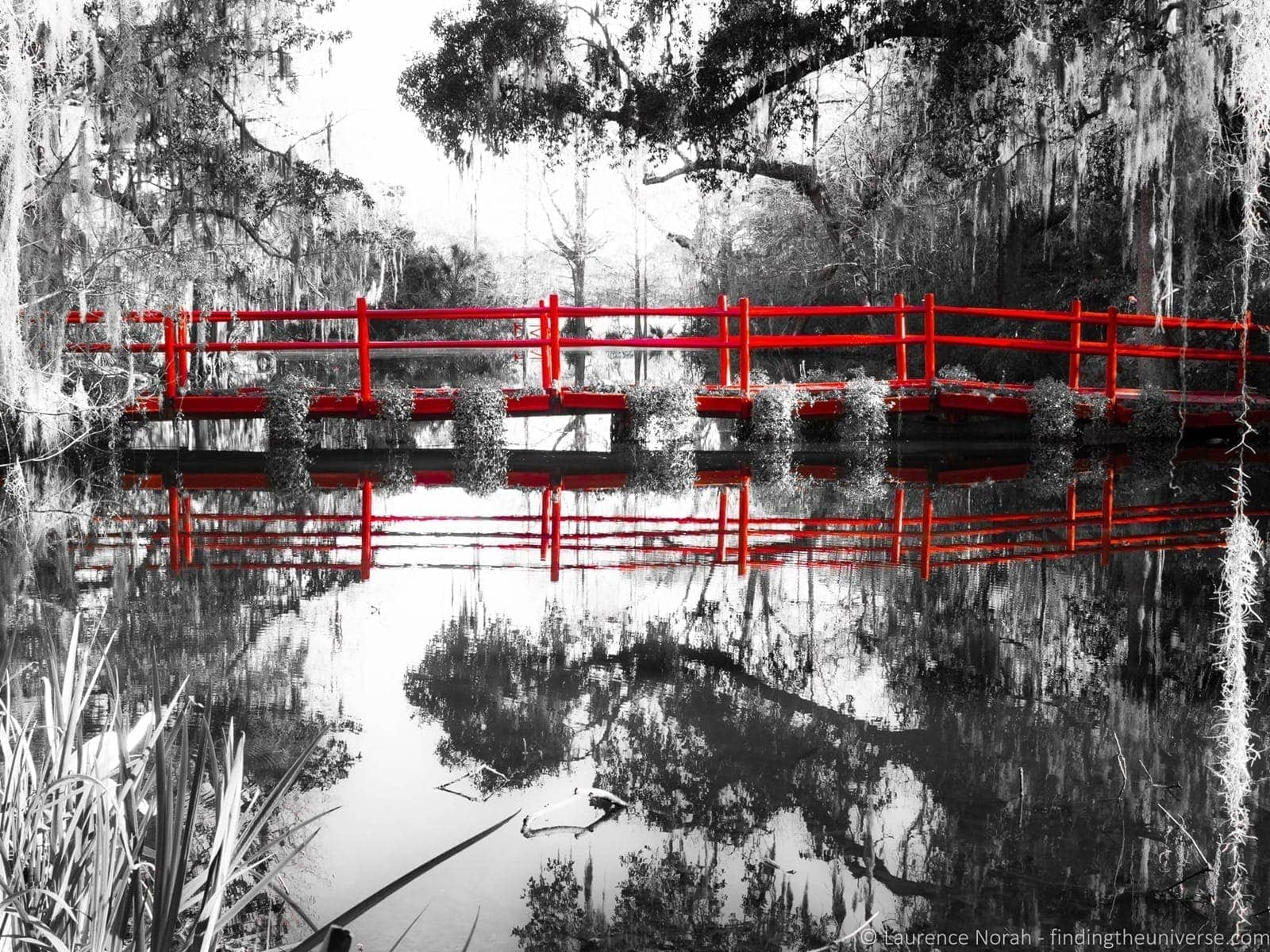 Red bridge Magnolia Plantation Charleston