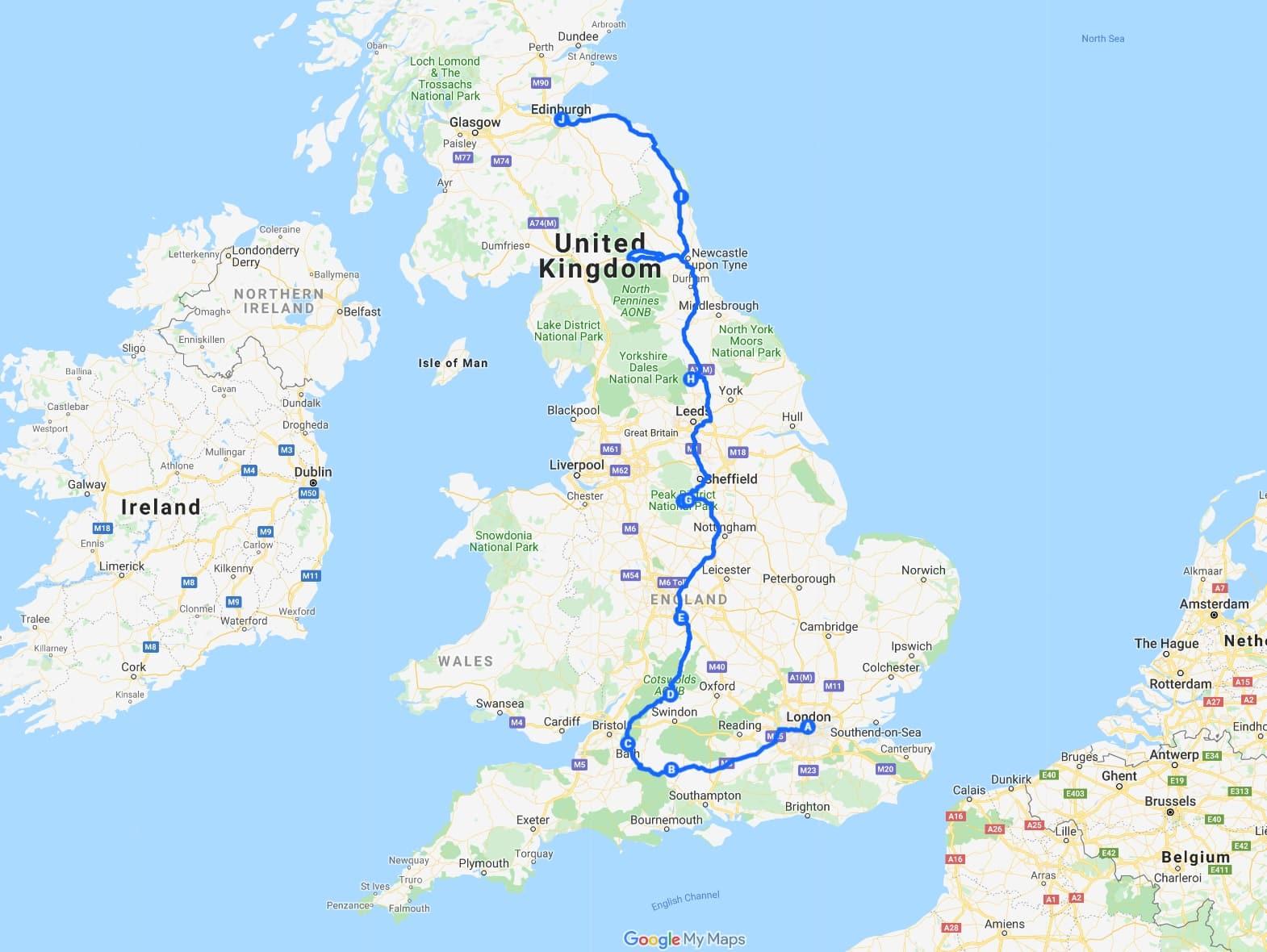 1 week UK itinerary road trip map