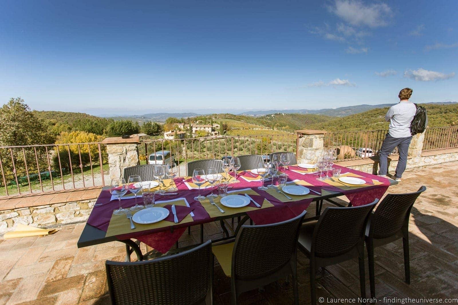 Outdoor dining Tuscany vineyard