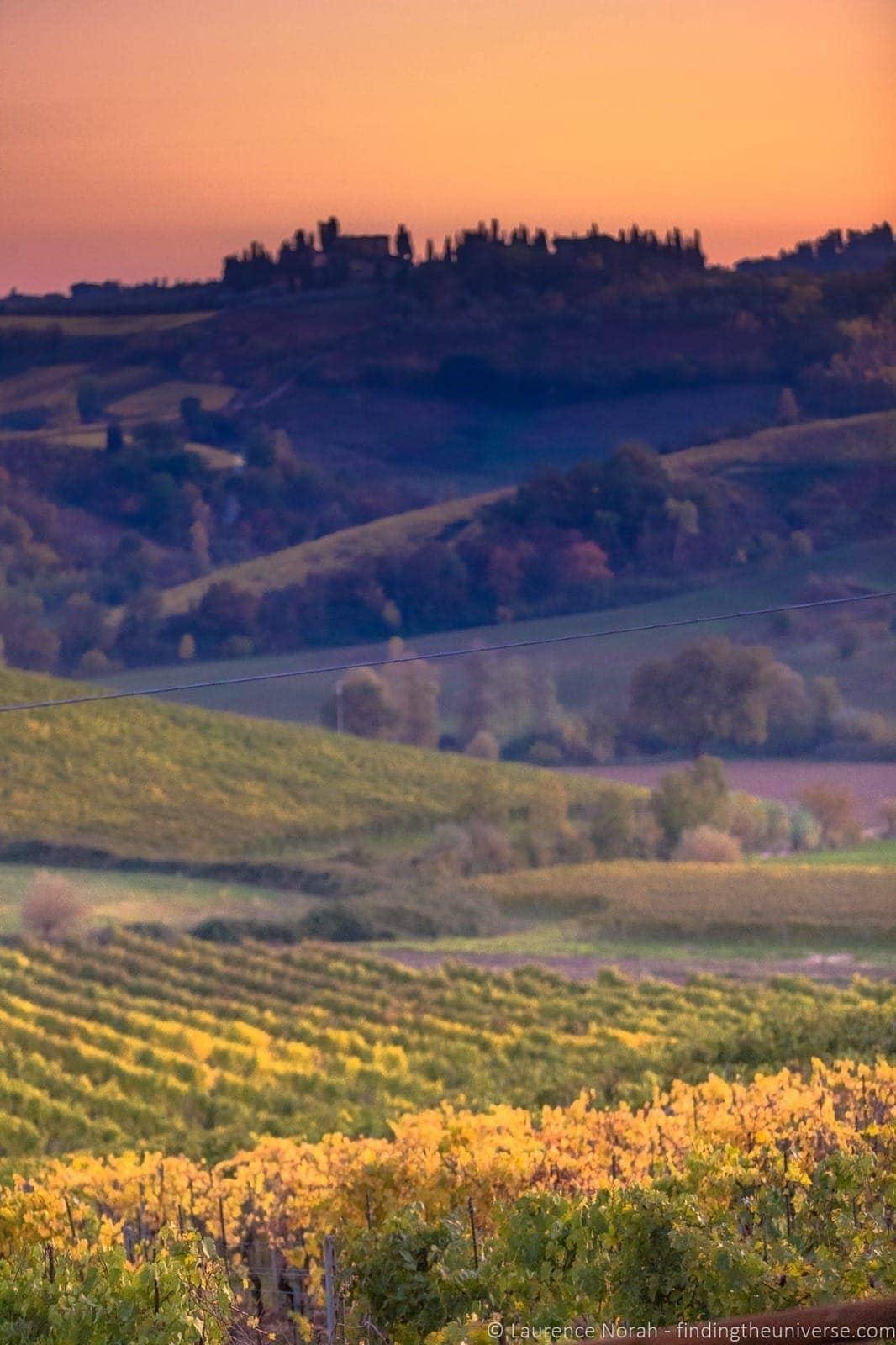 Sunset over San Gimigiano Tuscany