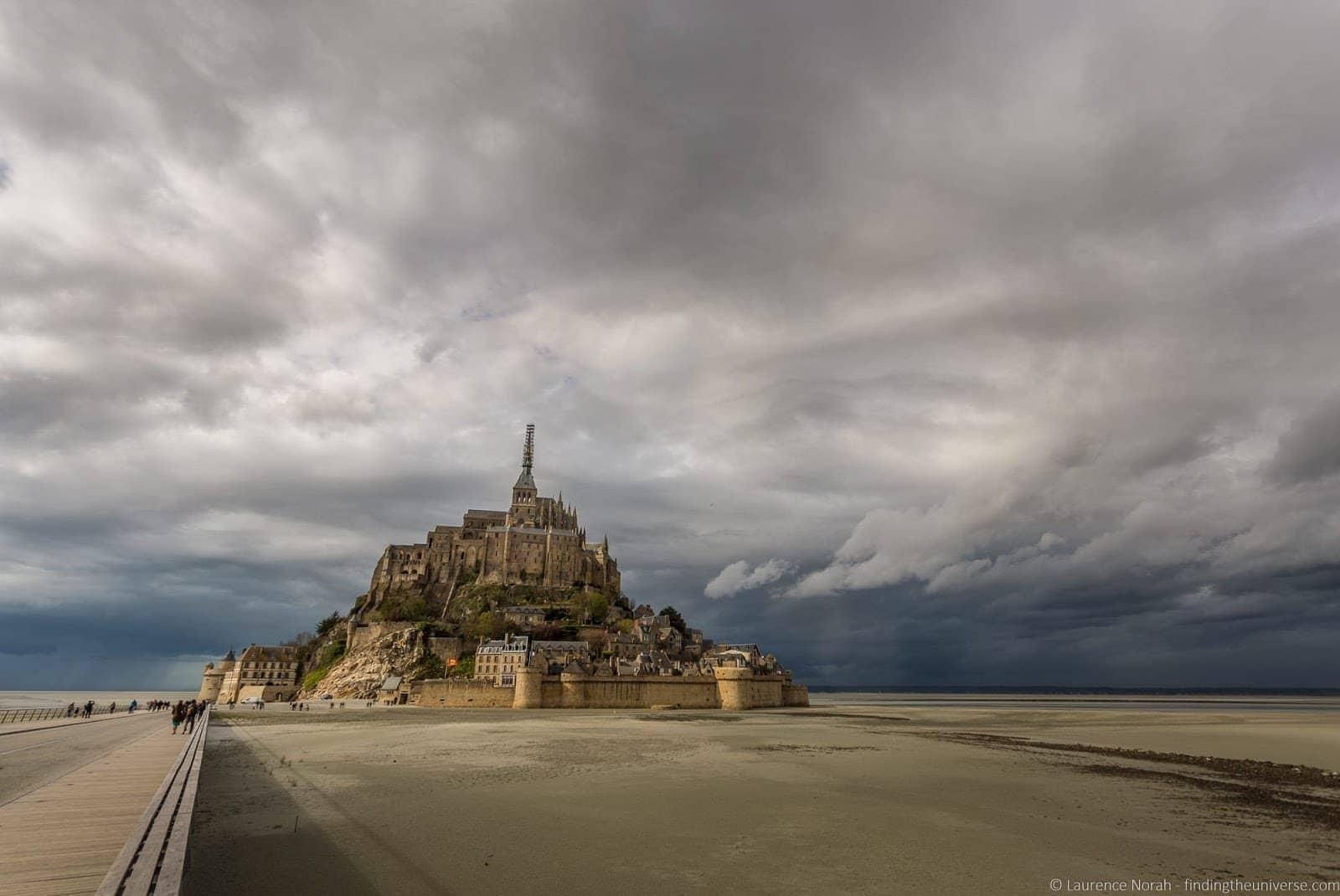 Cloudy exterior Mont St Michel France