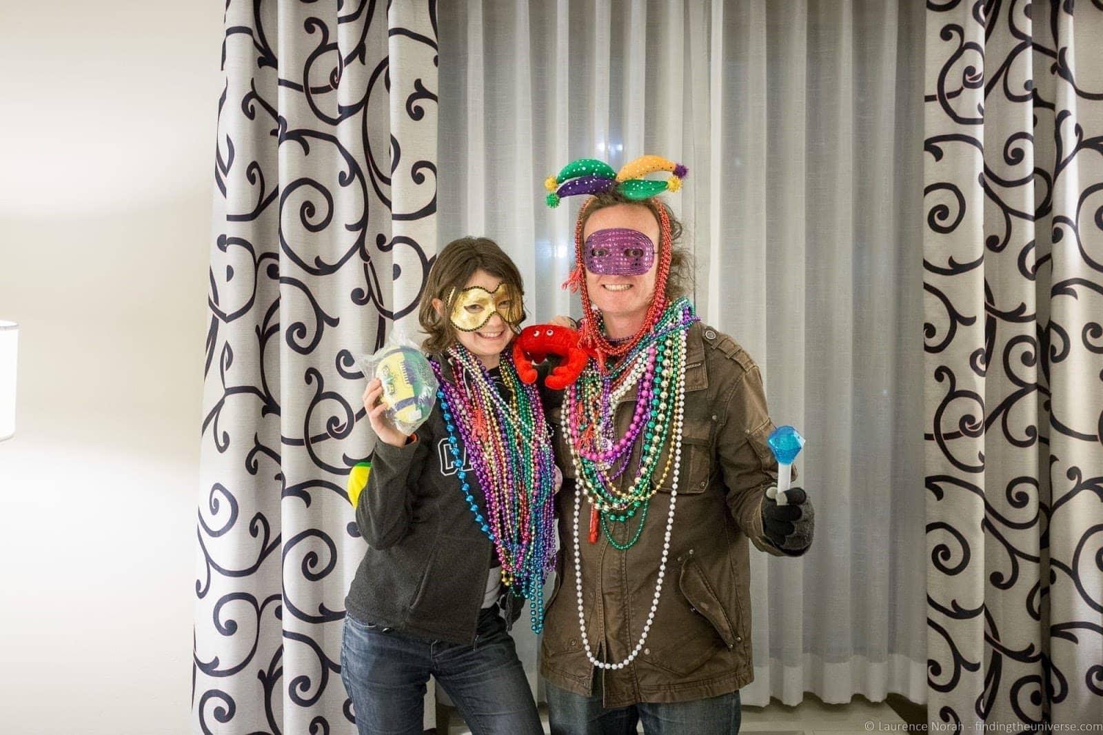 Couple with Mardi Gras beads Baton Rouge