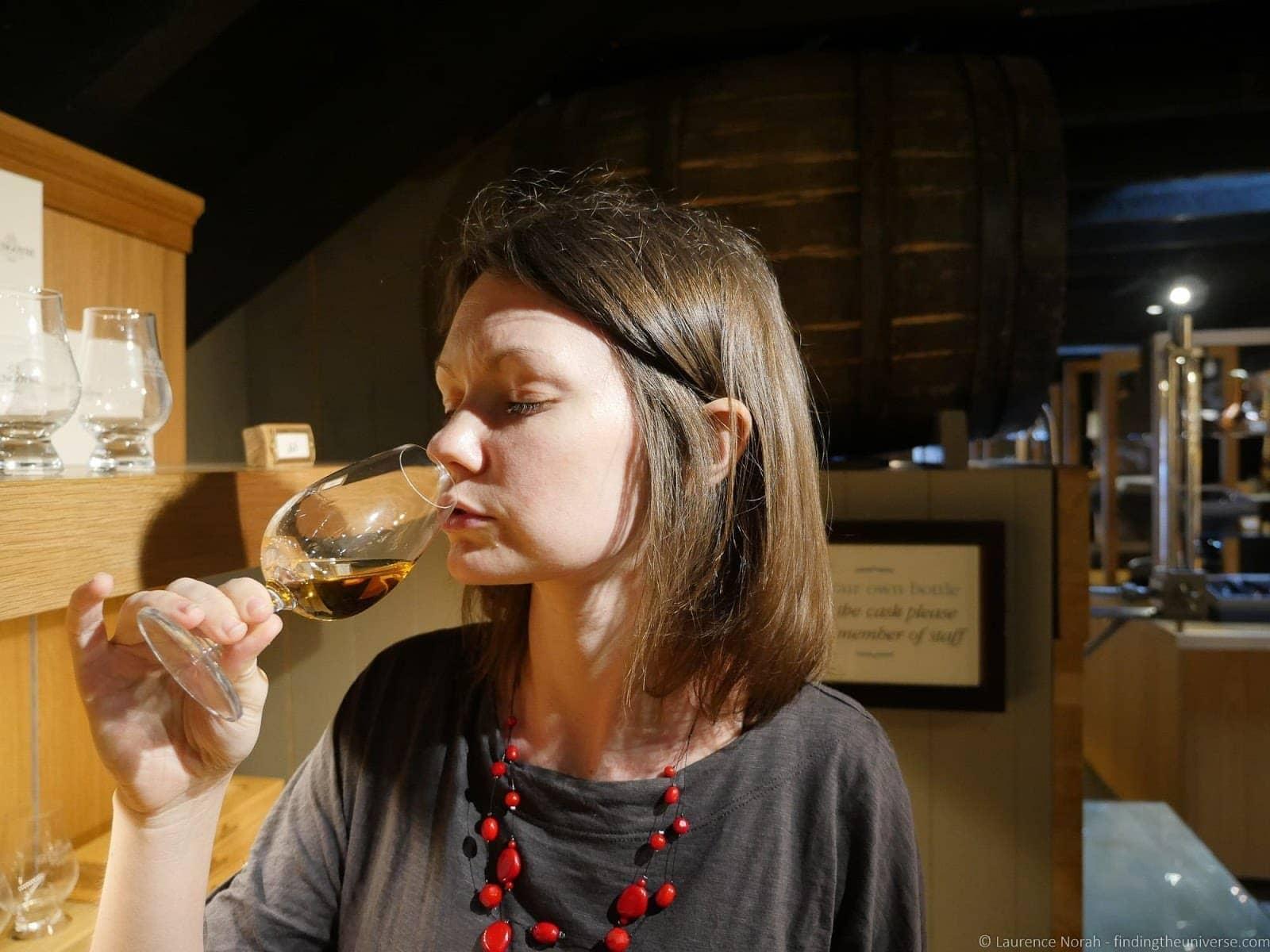 Jess drinking whisky