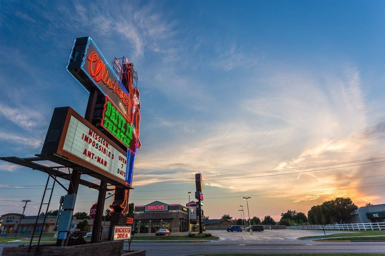 Route 66 drive in movie theatre Route 66 Oklahoma_by_Laurence Norah