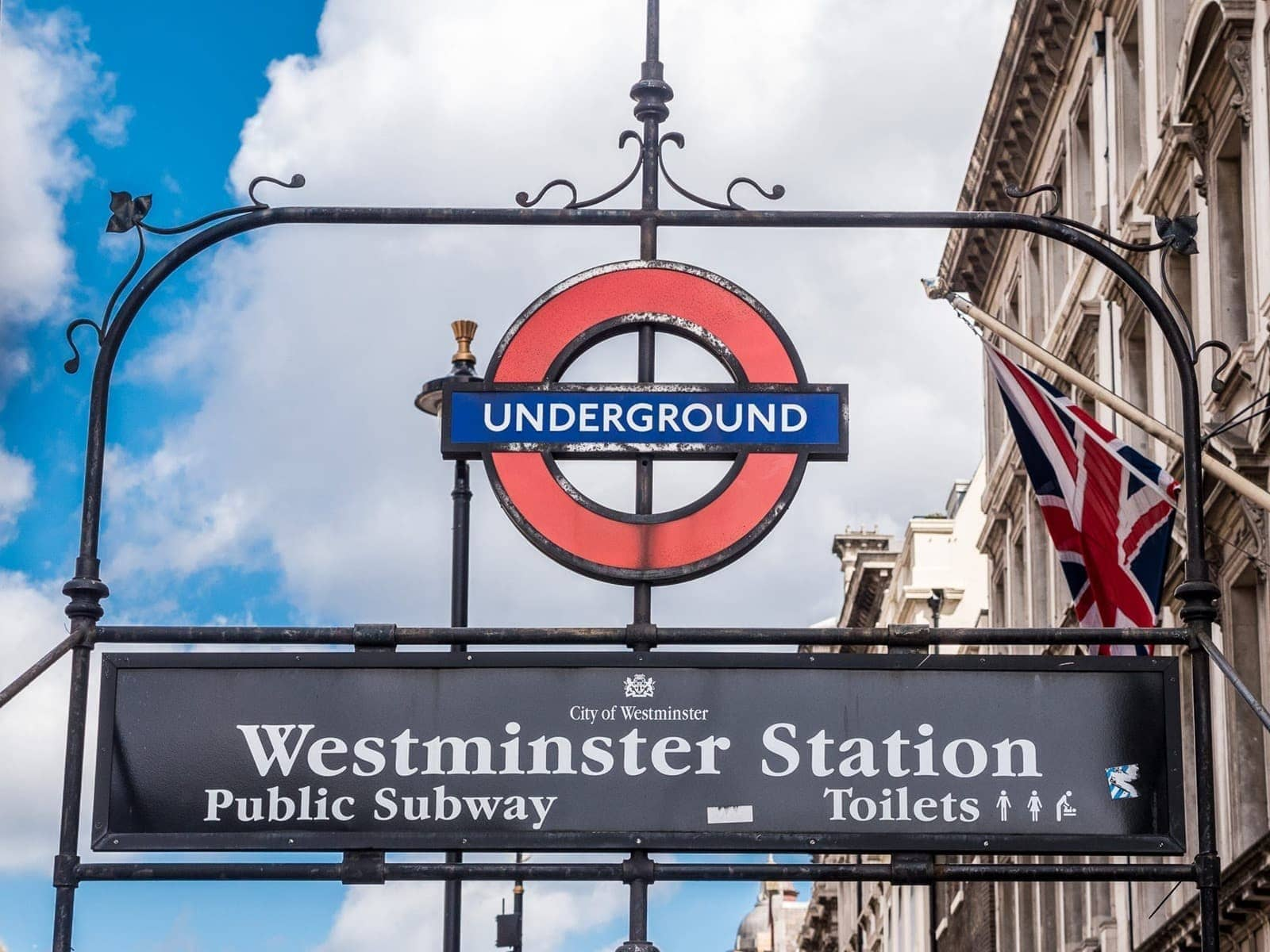 Westminster station underground sign