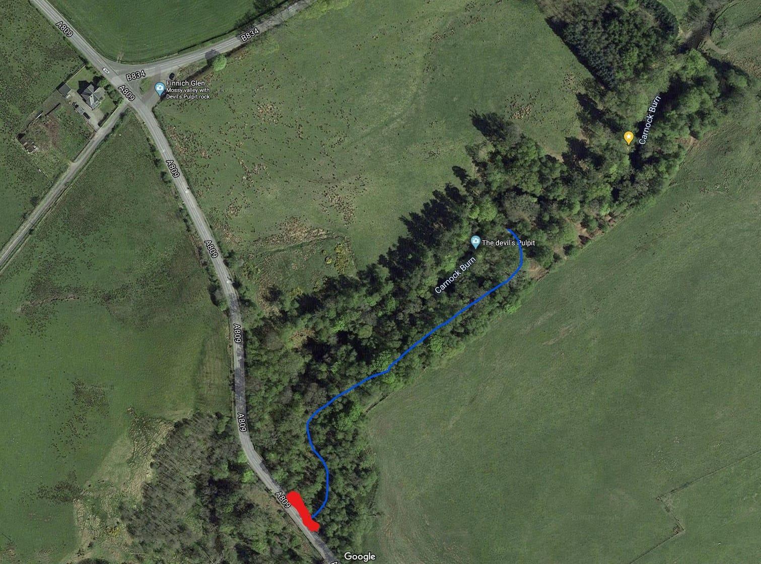 Devils Pulpit parking location map 2020