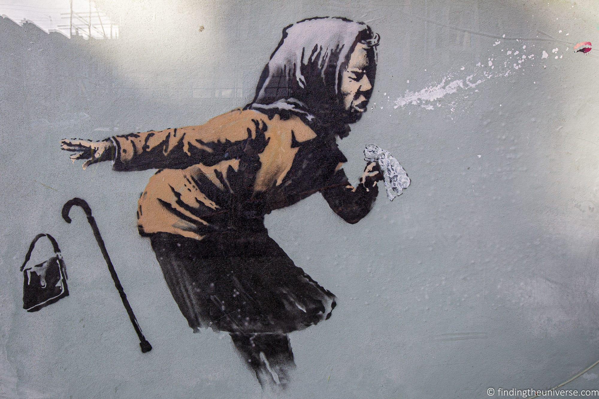 aachoo sneezing lady Banksy in Bristol