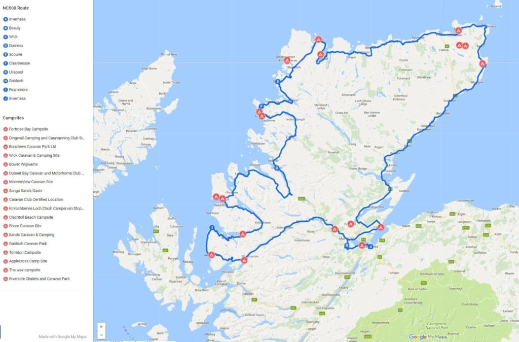 7 Day North Coast 500 itinerary route map