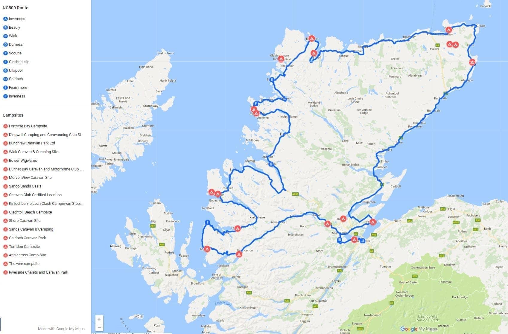 7 Day North Coast 500 Camping Itinerary