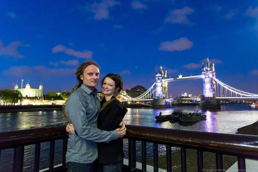 London packing list - Laurence and Jessica in front of tower bridge london