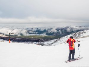 Skiing in the Cairngorms National Park in Scotland