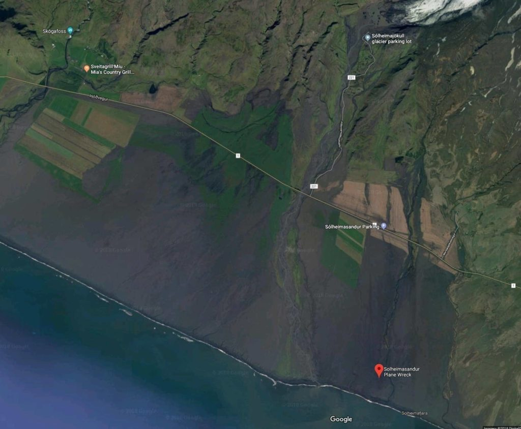 Map of Iceland plane crash area
