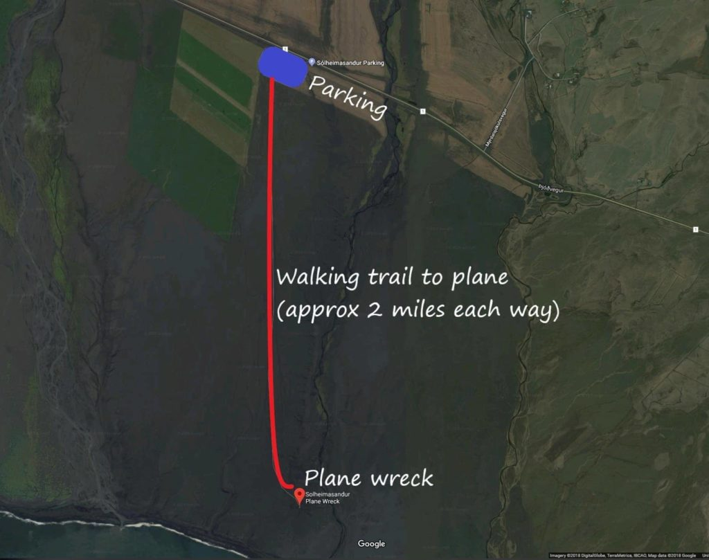 Map of iceland plane crash parking and walking route
