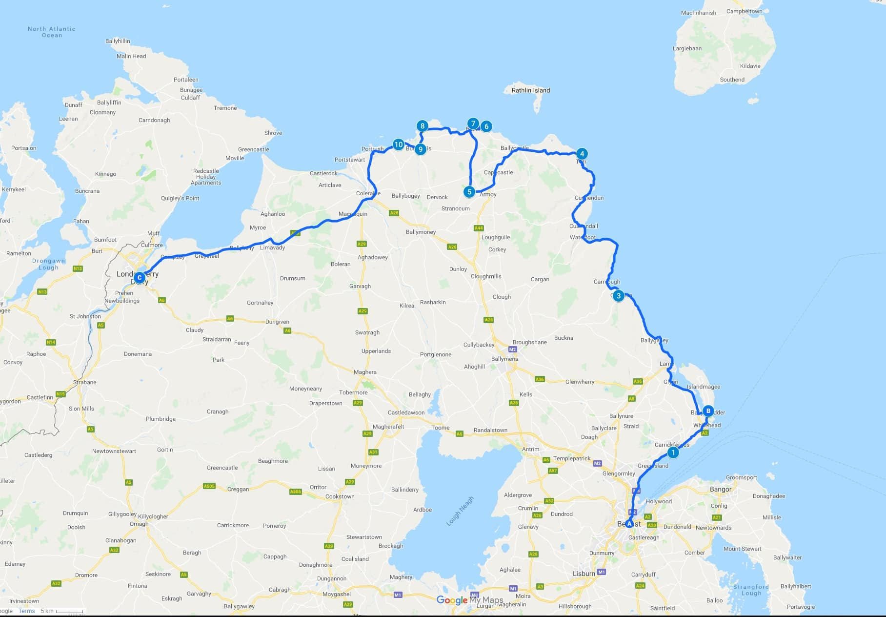 Causeway coastal route driving map