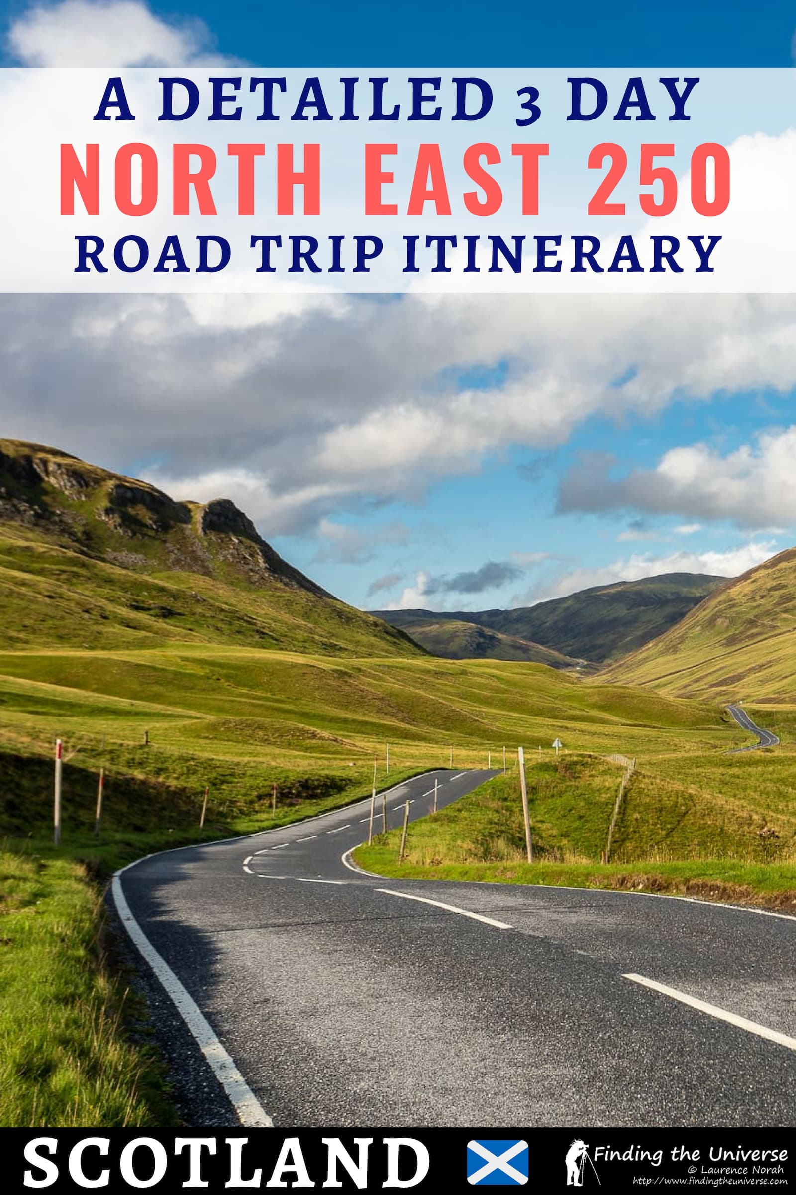 A detailed 3 day itinerary for driving the North East 250, a road trip in Scotland which spans sections of the Caingorms, Aberdeen and the Moray Firth coast.