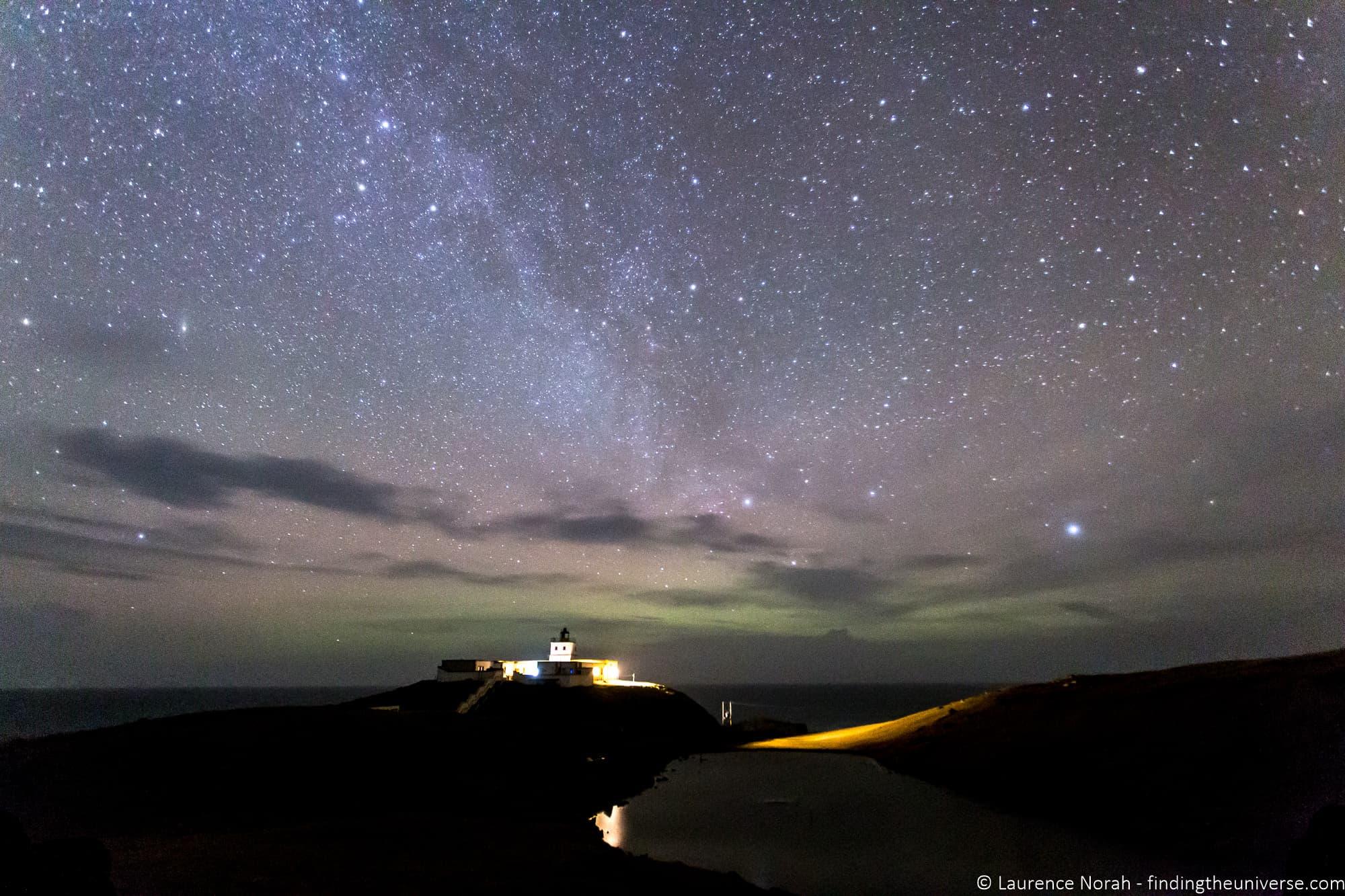 Stars over lighthouse SCotland