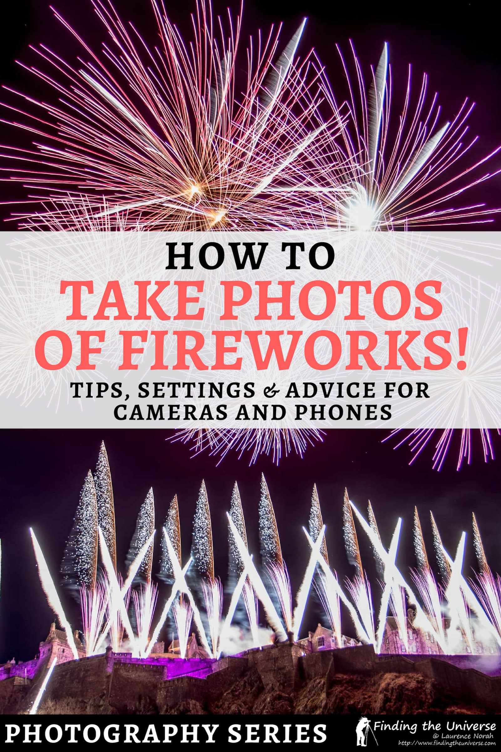 Ever wondered how to photograph fireworks? With this detailed guide, you'll get the perfect fireworks photos, whether you're using a camera or smartphone! With tips, advice and the camera settings you need for the best fireworks pictures #fireworks #photography
