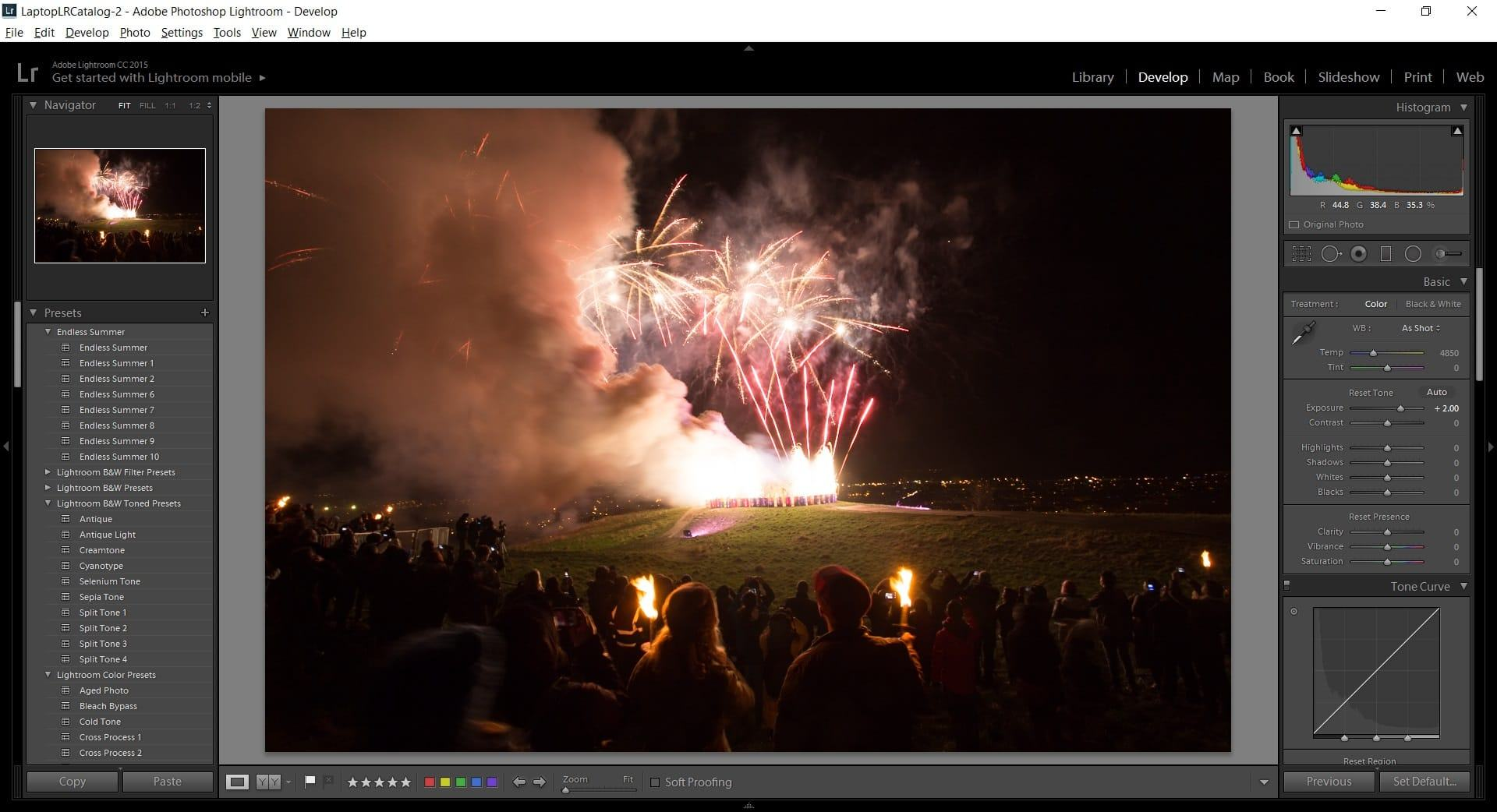 Editing firework photos