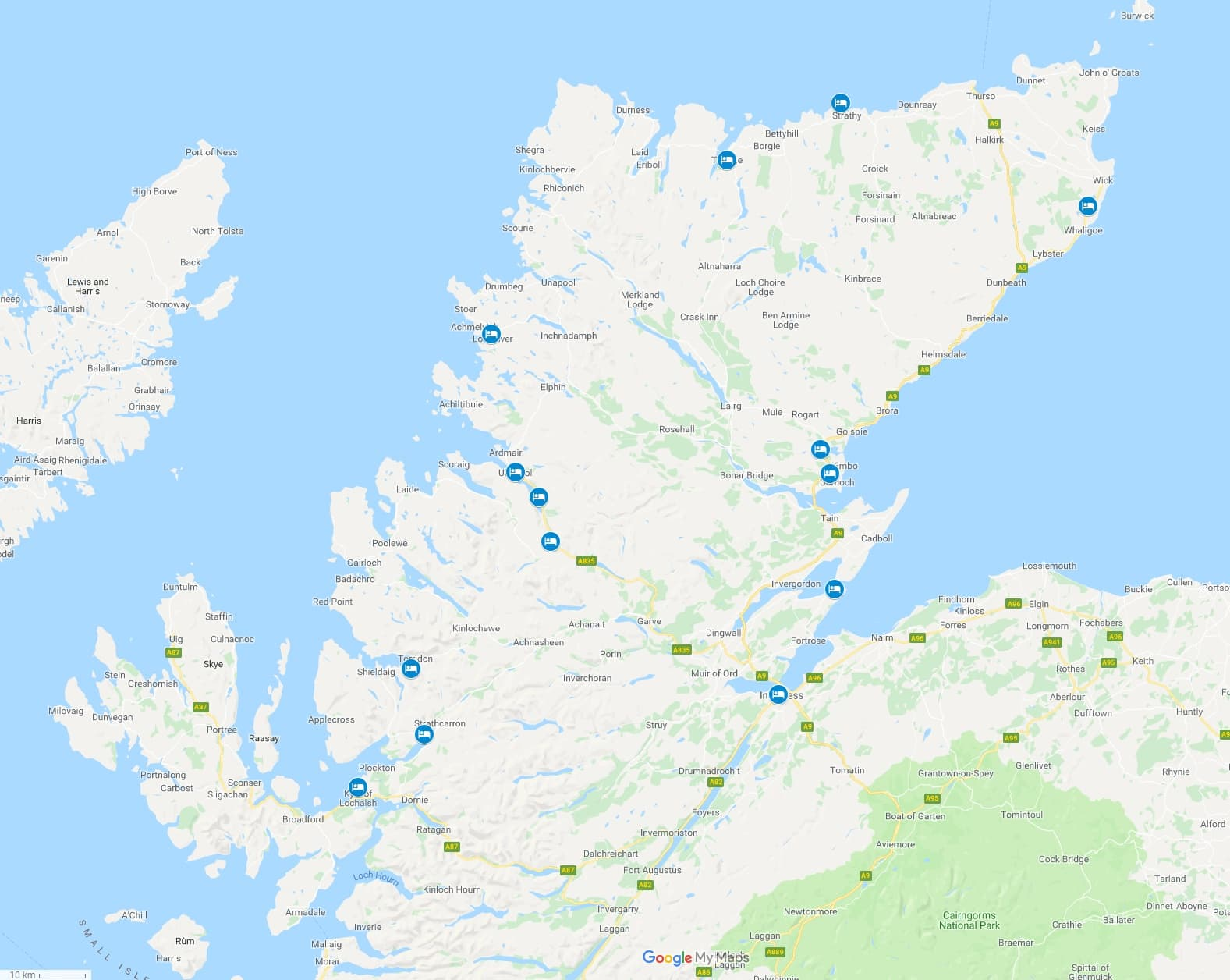 Map of NC500 Bed and Breakfast accommodation