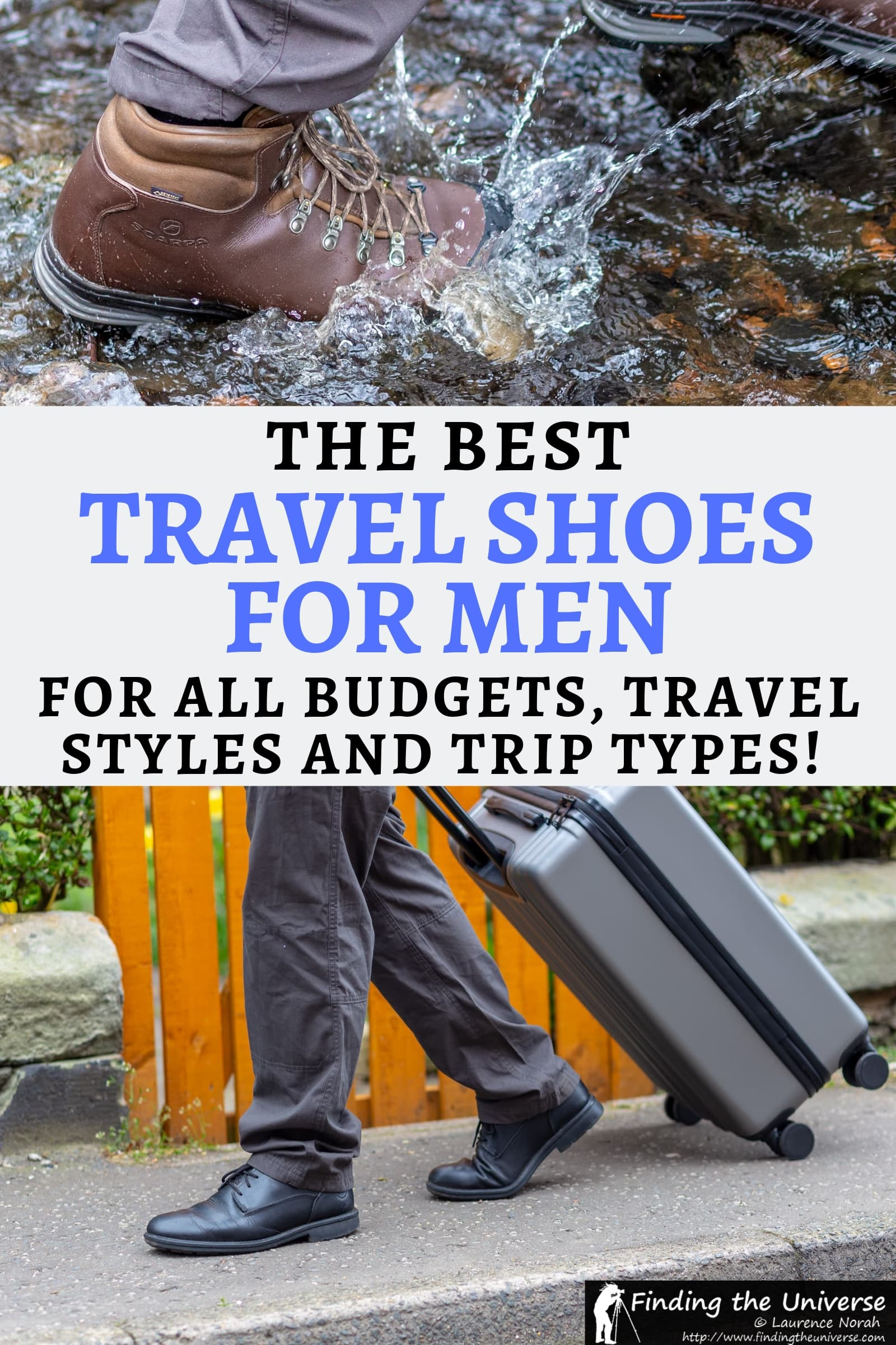 A detailed guide to the best travel shoes for men. Covers a wide range of shoe types, including hiking shoes, dress shoes, sandals, sports shoes and more!