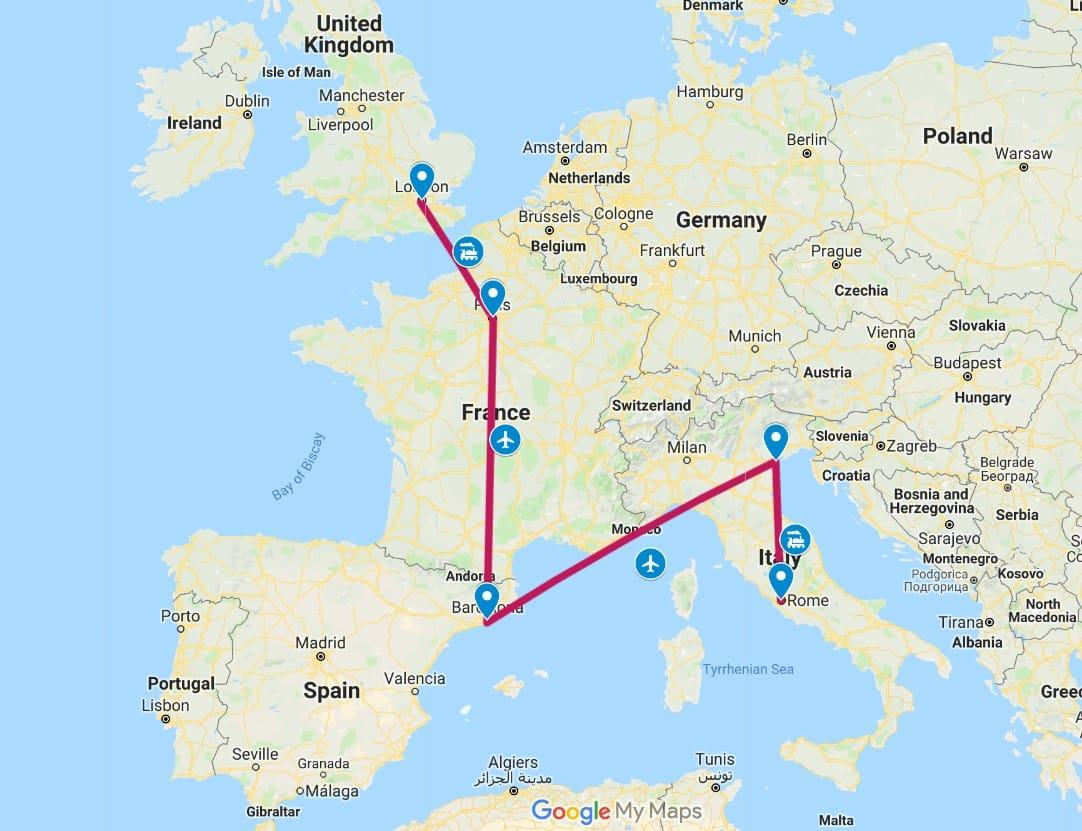 2 Week Europe Itinerary Map