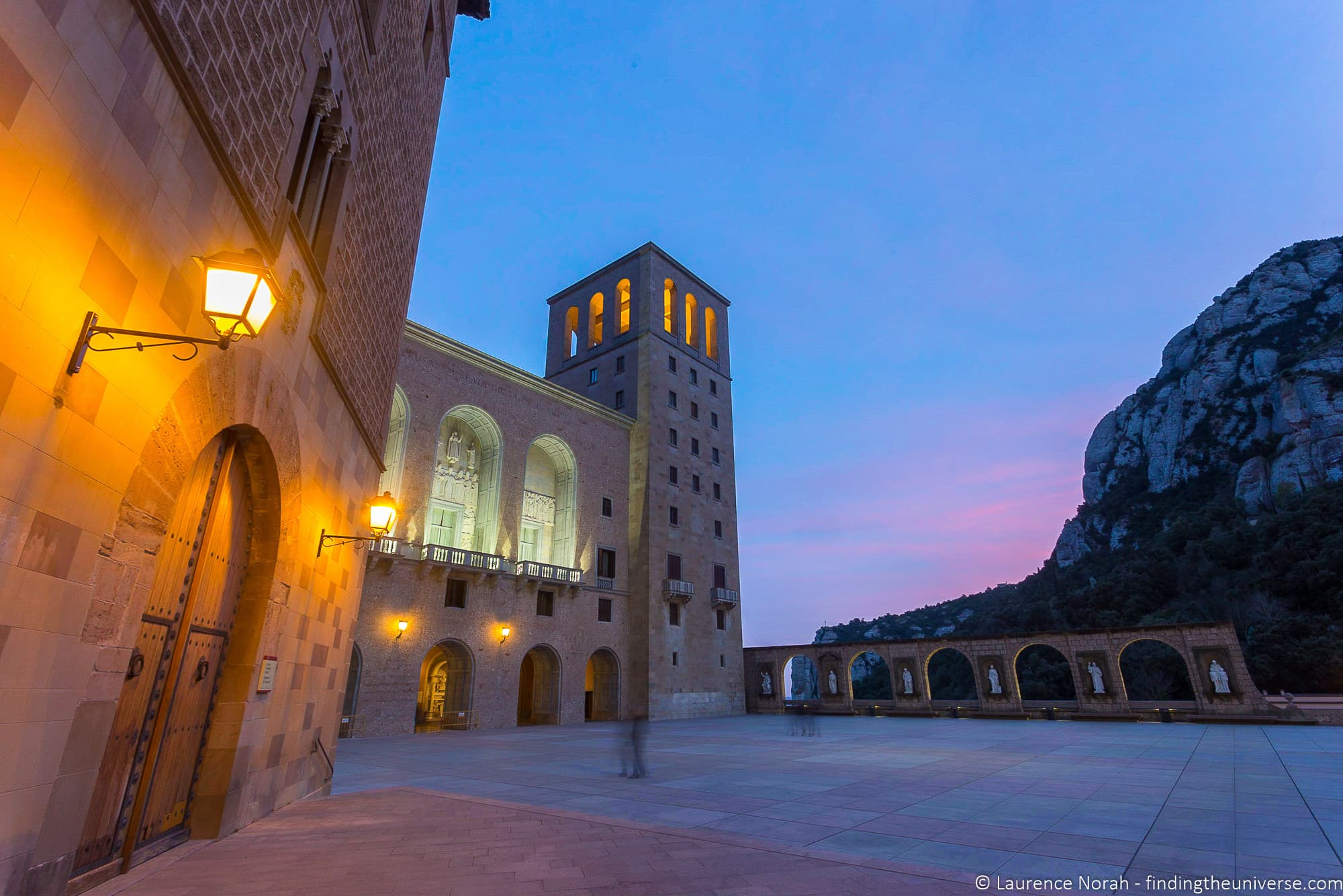 Exterior of Monserrat Abbey at sunset