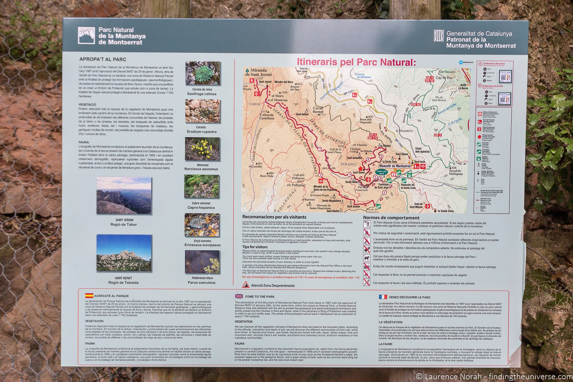 HIking trails at Montserrat Spain