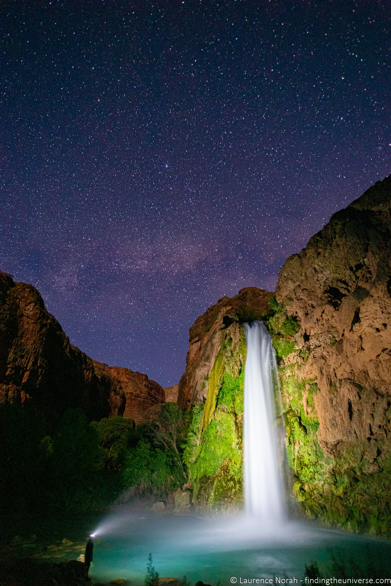 Havasu Falls at night milky way