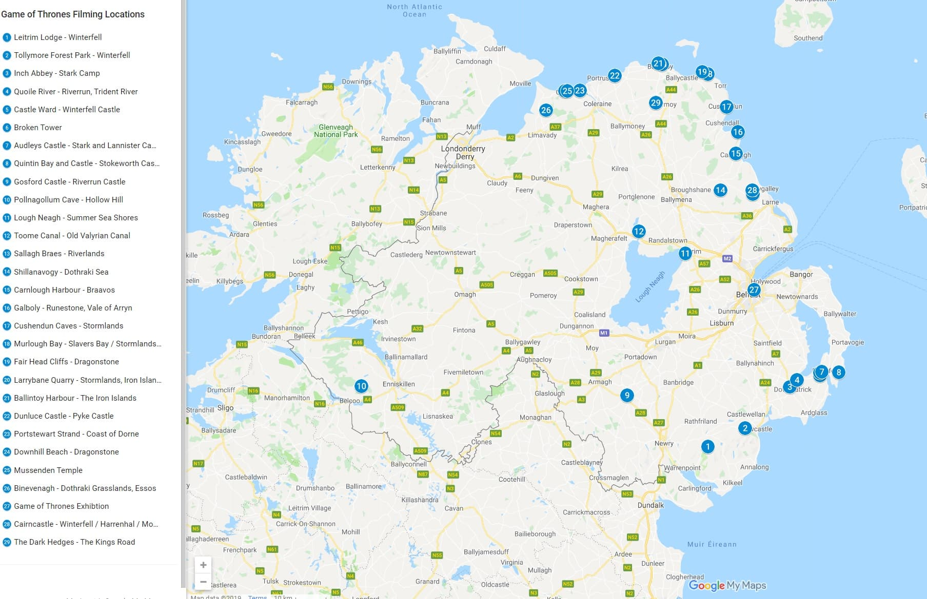 Game of Thrones Northern Ireland filming locations map