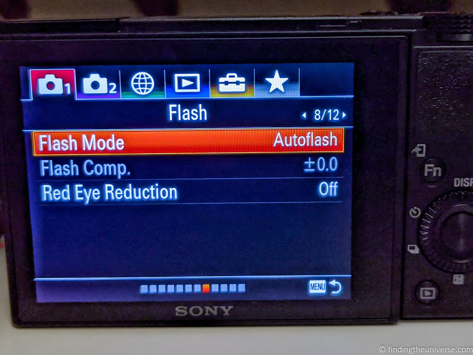 Camera flash menu compact camera