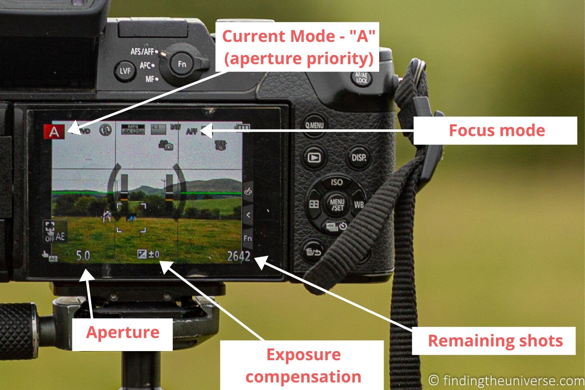 Mirrorless camera display symbols and meanings