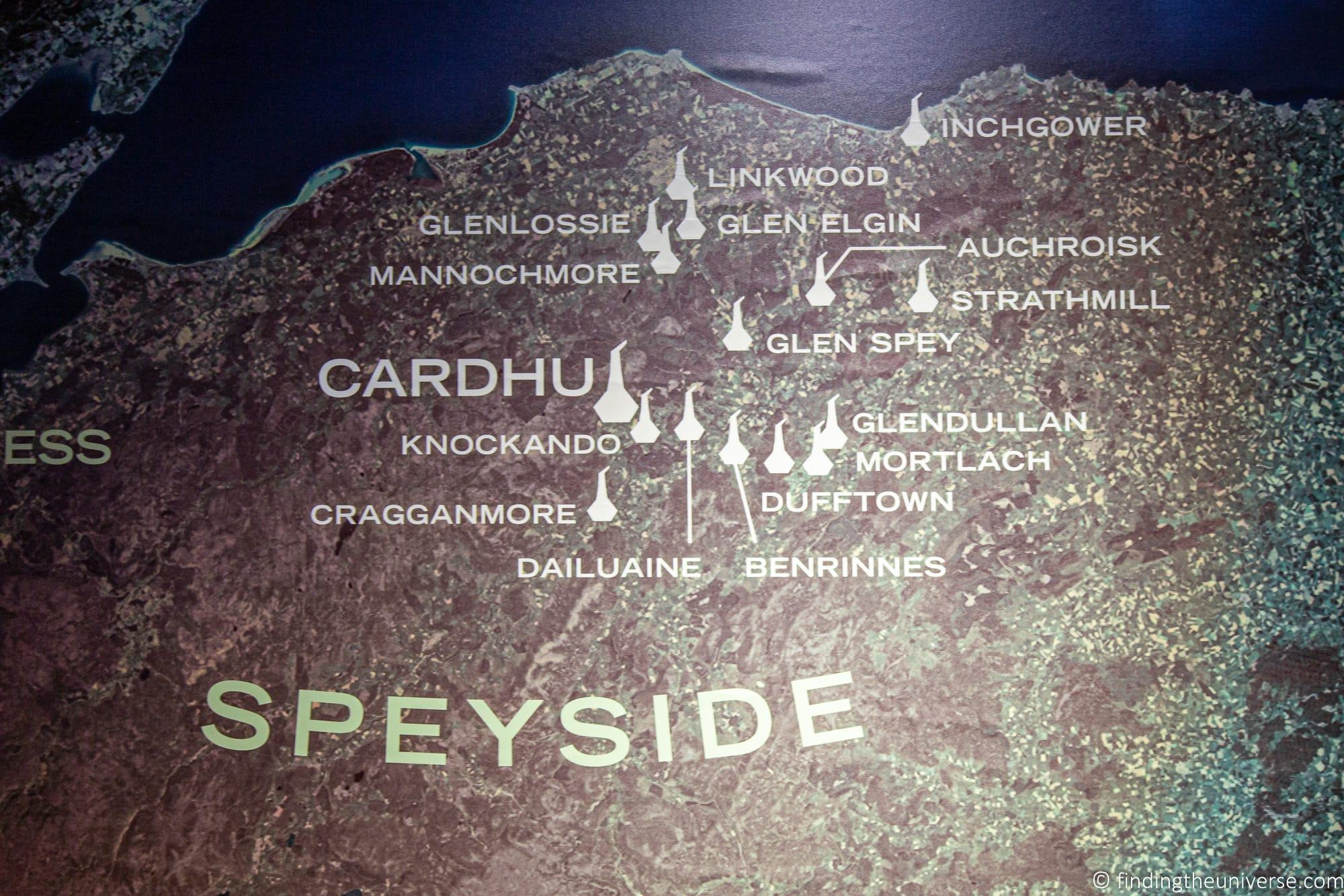 Speyside distilleries map