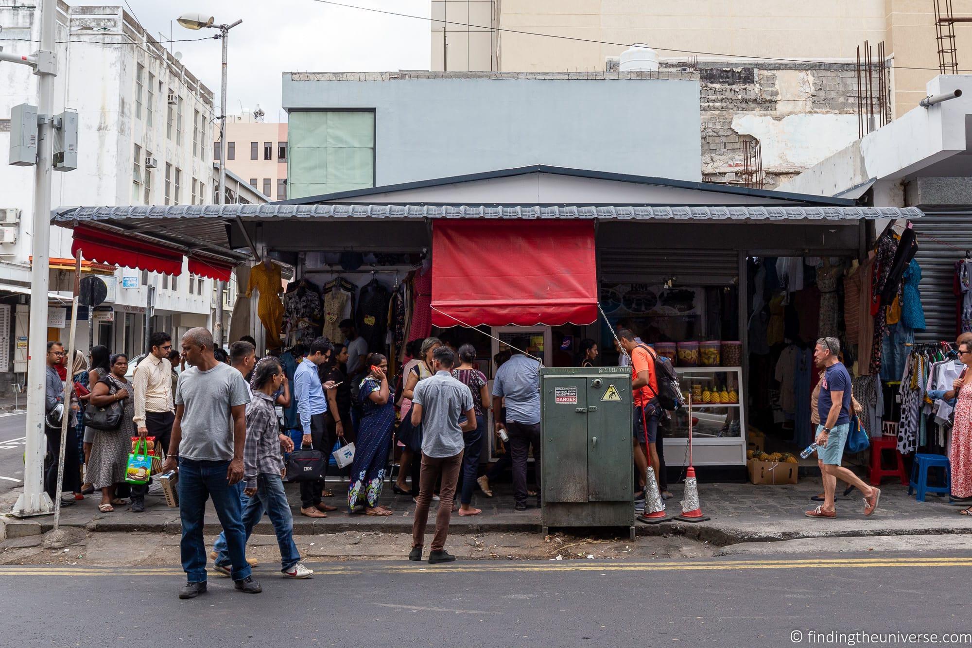 Street food line Port Louis Mauritius