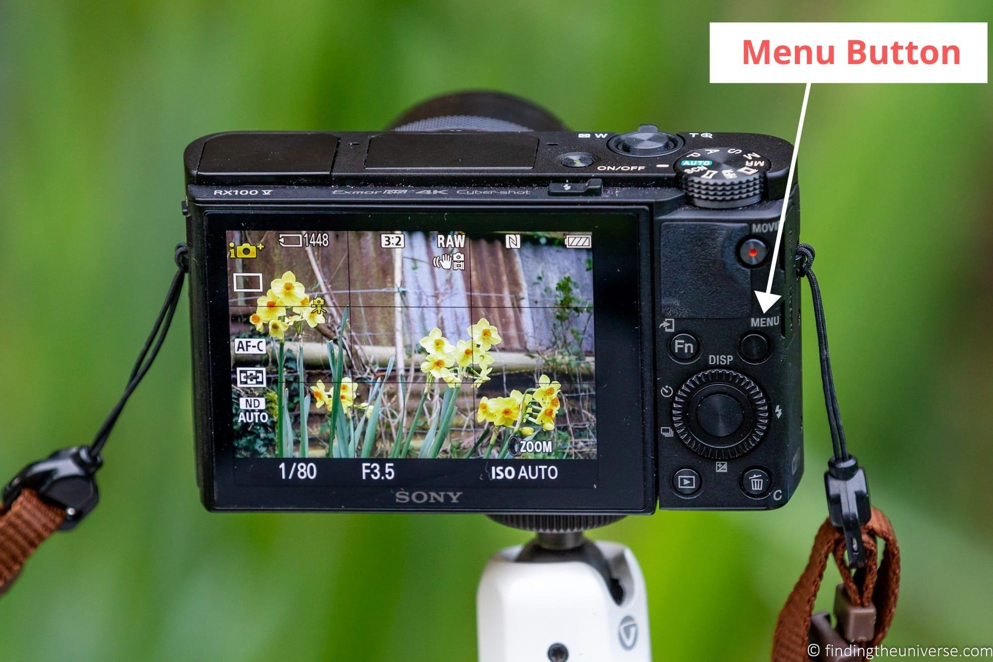 Bouton de menu de l'appareil photo compact