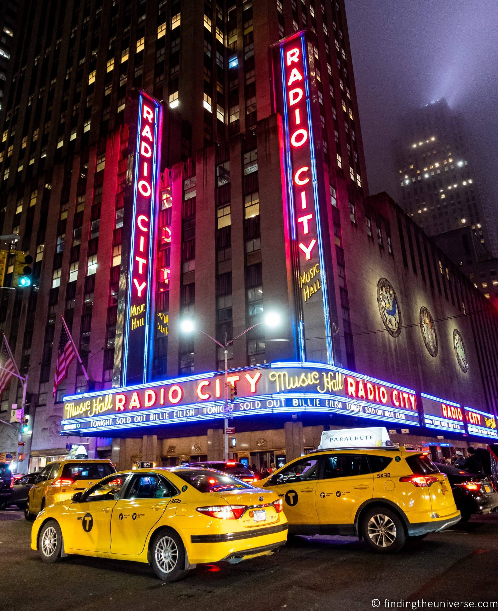 Radio City and Taxis New York
