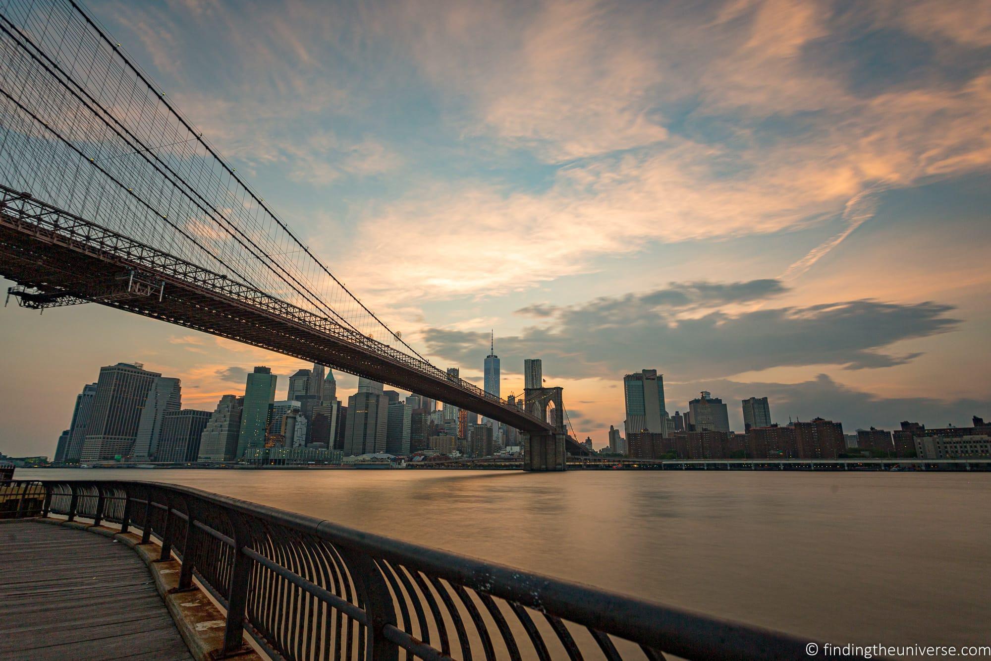 Sunset Brooklyn Bridge New York City itinerary
