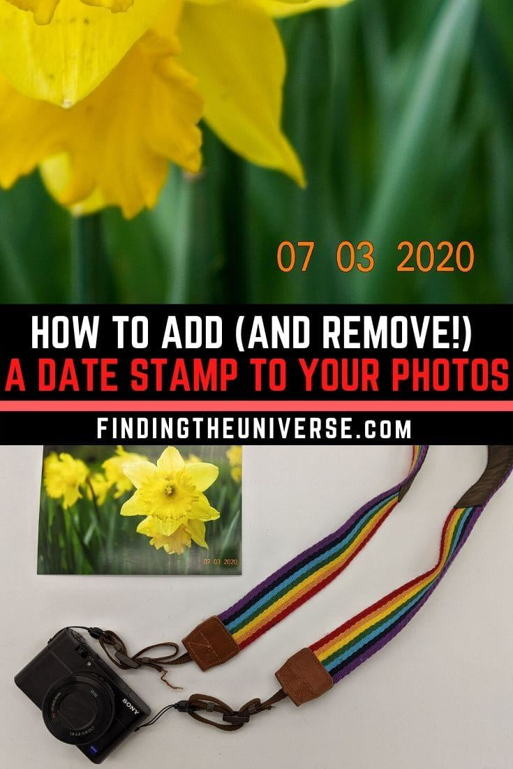 A detailed guide to adding or removing a date stamp, watermark, or other text to any image. Includes in-camera options as well as software tools.