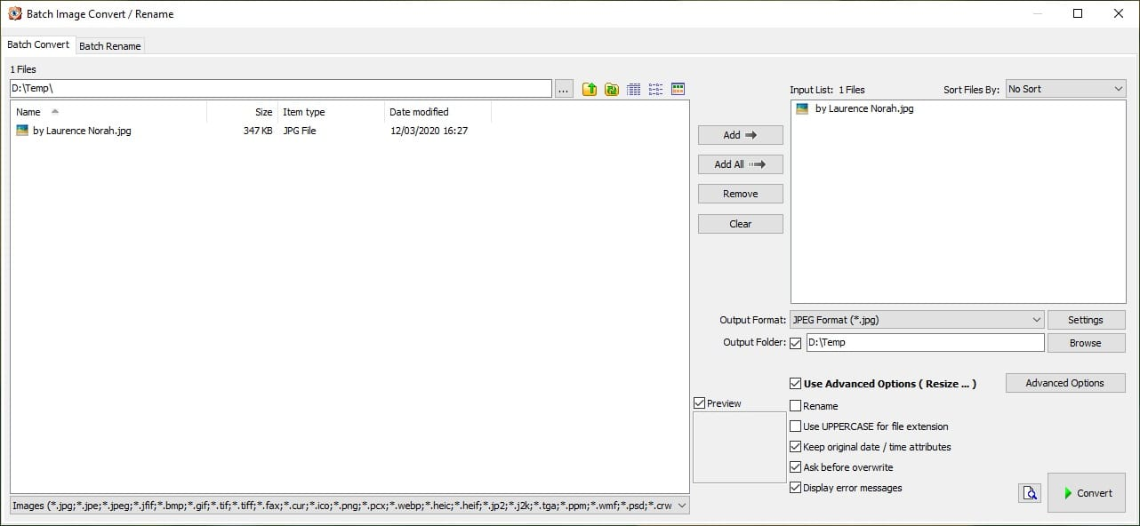 FastStone 3 - batch convert and rename 1