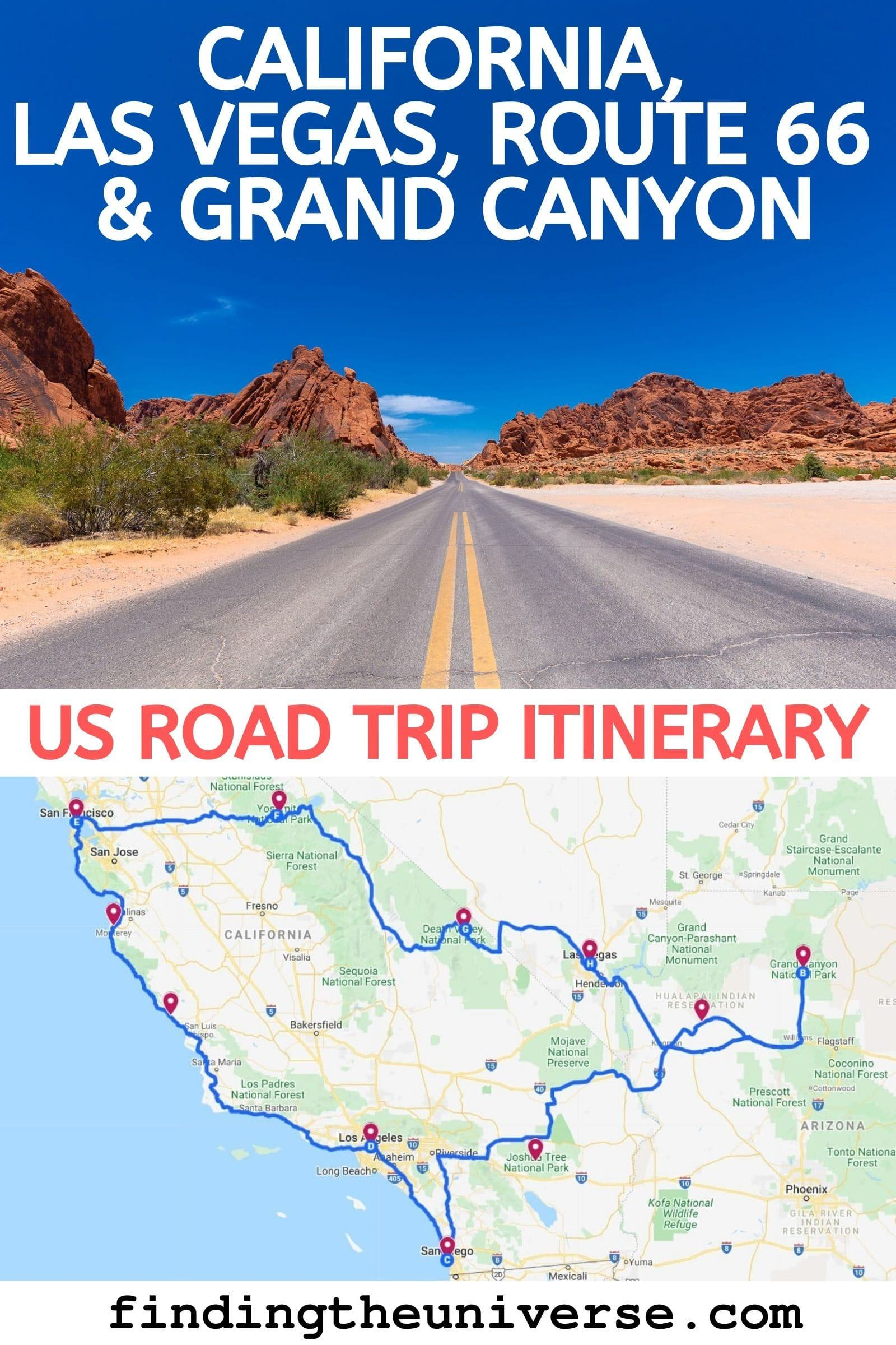 A USA road trip itinerary that covers California, Nevada and Arizona, Includes Route 66, the Grand Canyon, Las Vegas, Yosemite, Los Angeles + San Francisco!
