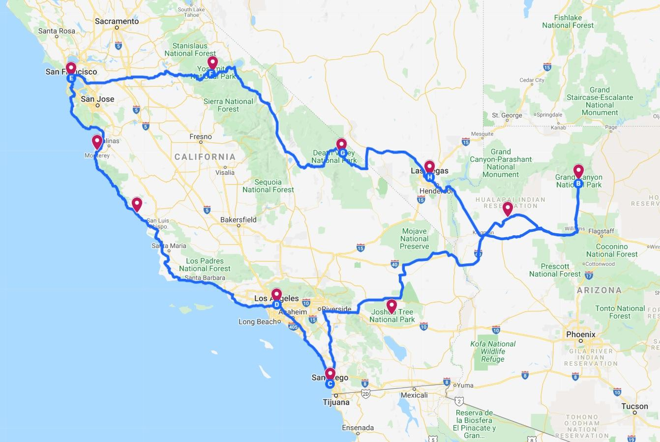 2 week usa road trip itinerary map