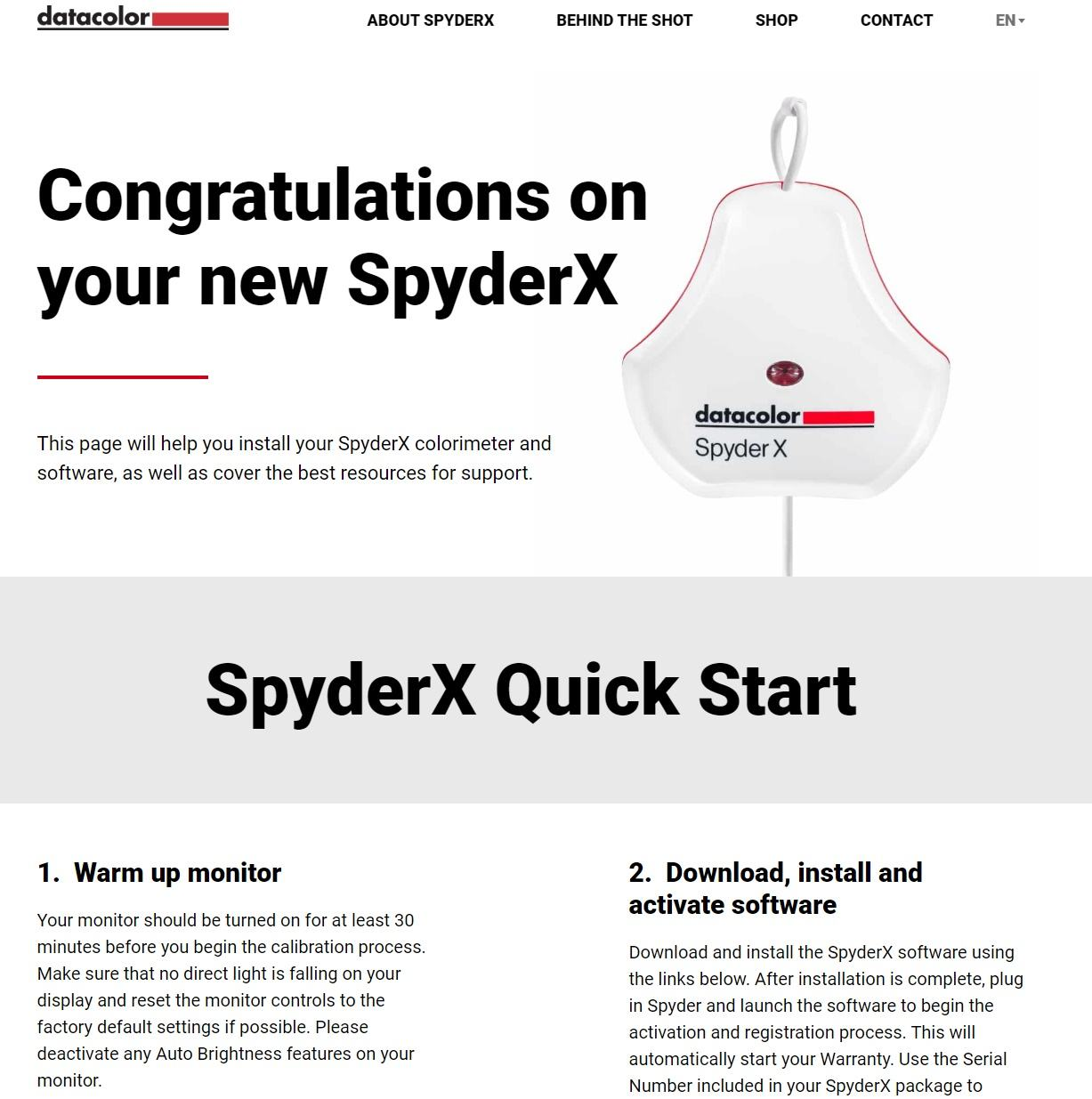 Datacolor Spyder X page 1