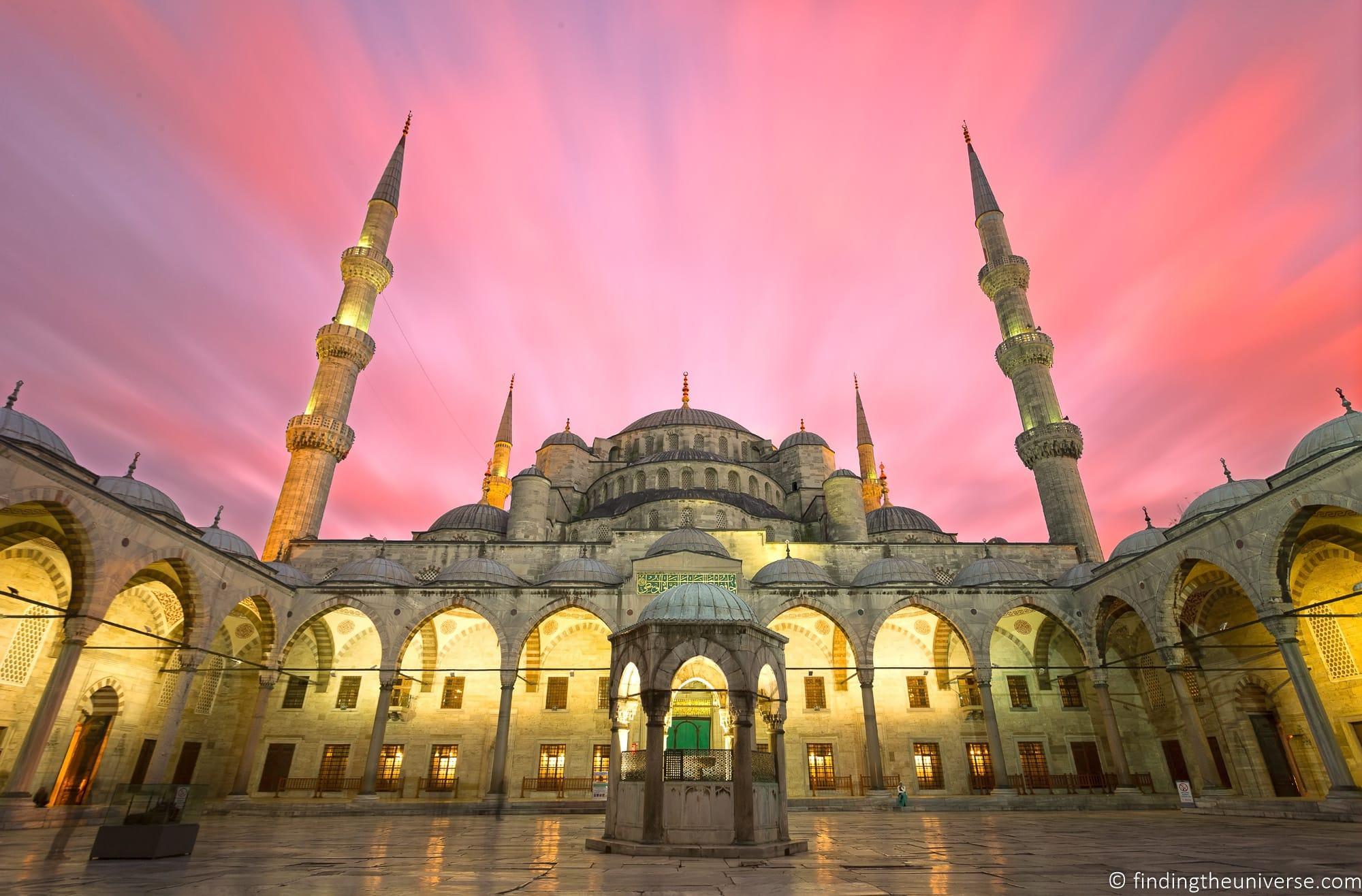 Blue mosque sunset Turkey