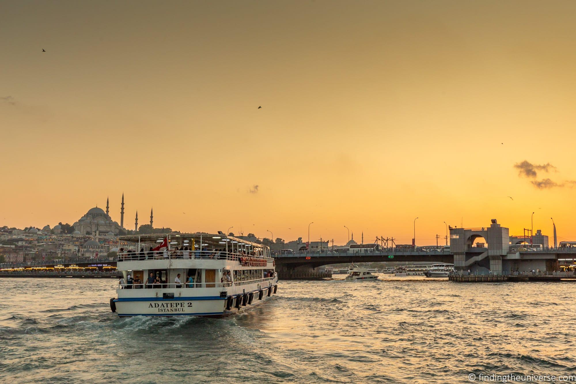 sunset cruise on the Bosphorus