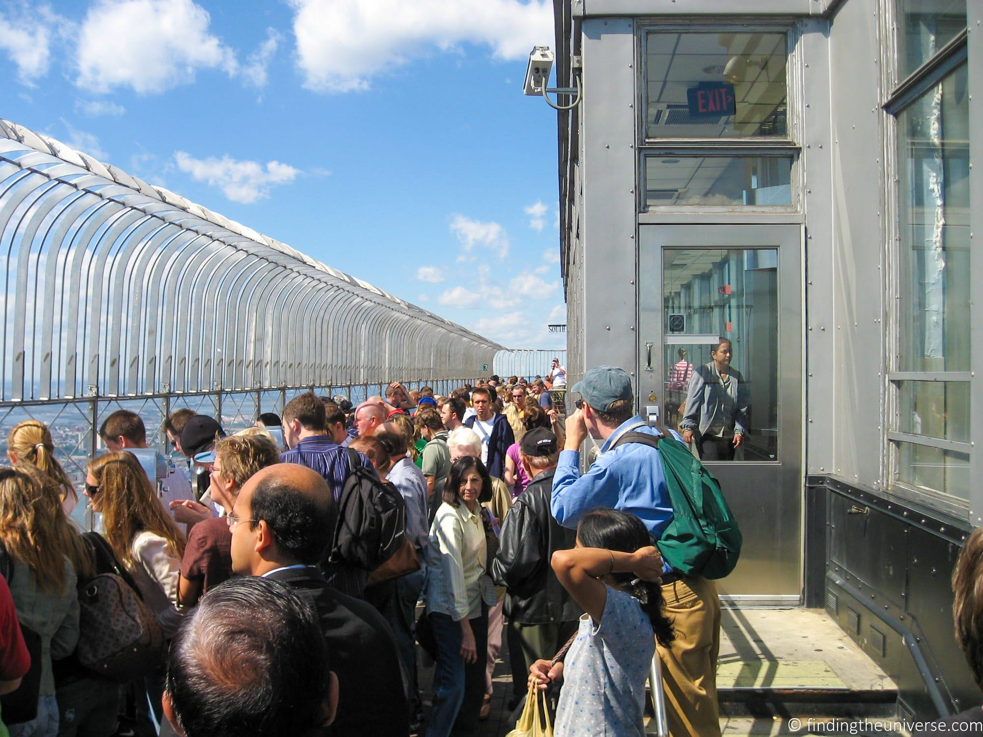 Crowds on observation deck at Empire State Building