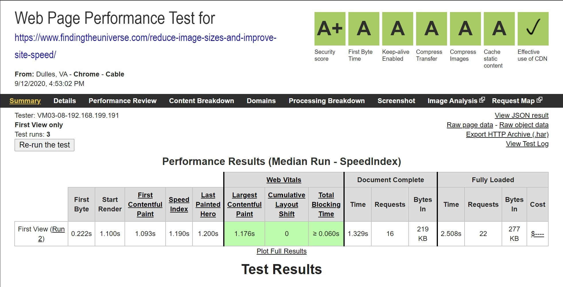 webpagetest score for Cloudways hosted site