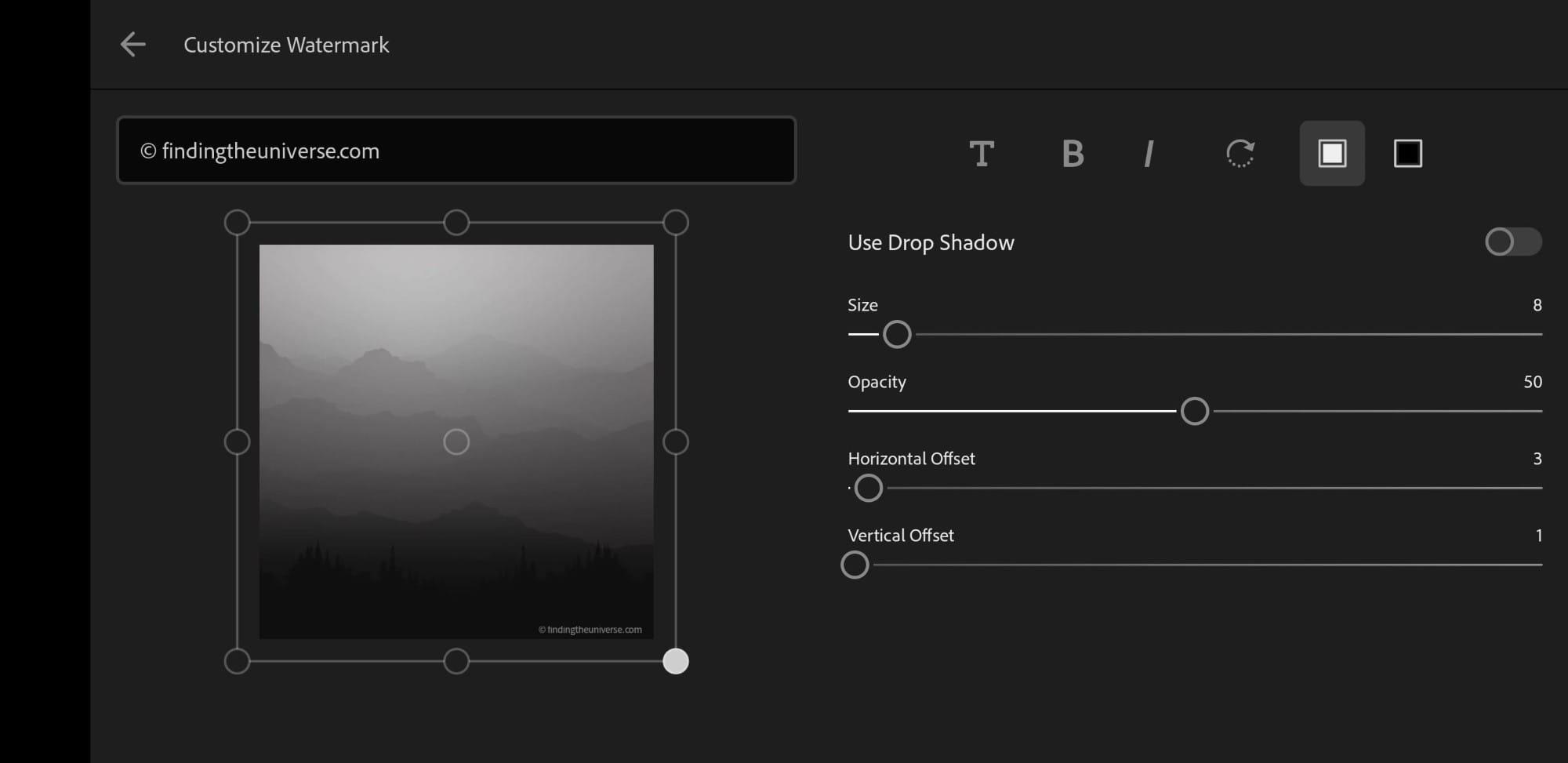 Customize watermark screen Lightroom mobile