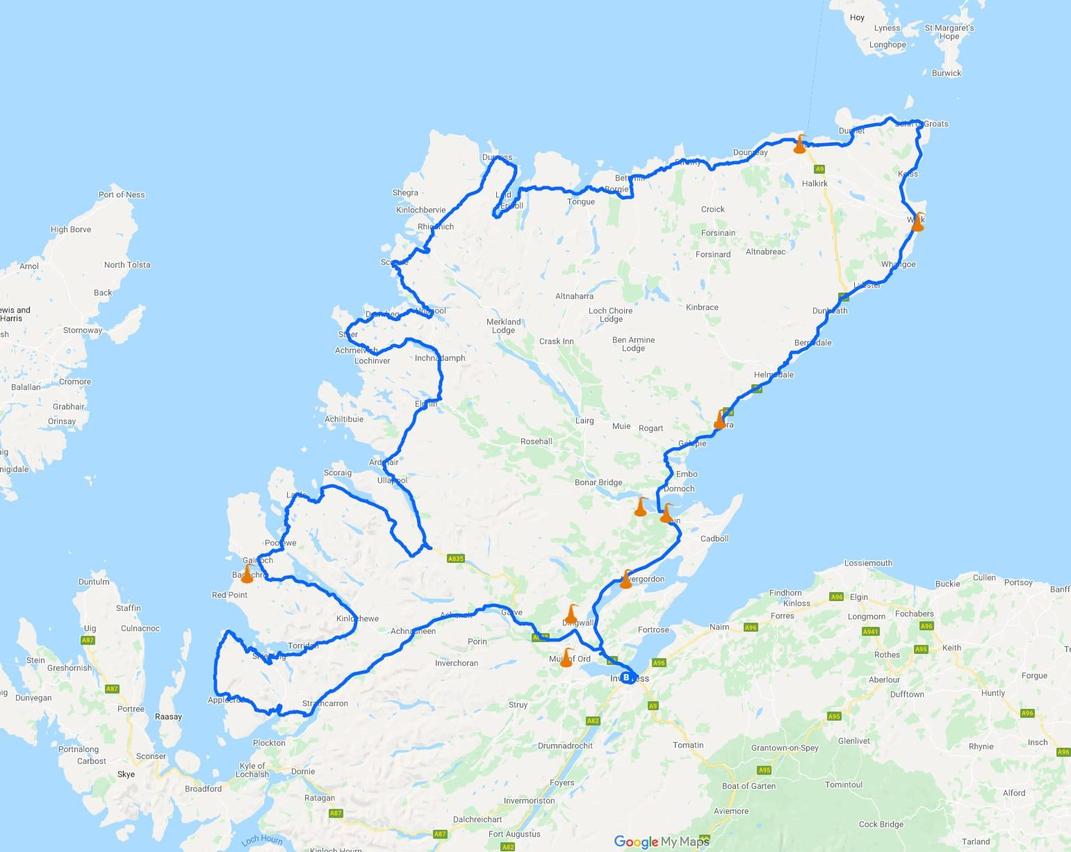 NC500 Whisky Distilleries and Map